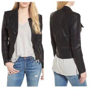 Blank NYC Faux Leather Black Hip Zip Moto Jacket